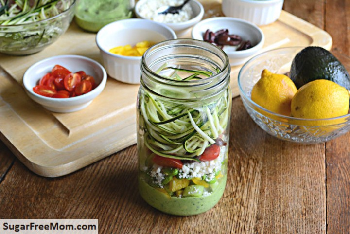 Zucchini Pasta Salad With Avocado Spinach Dressing