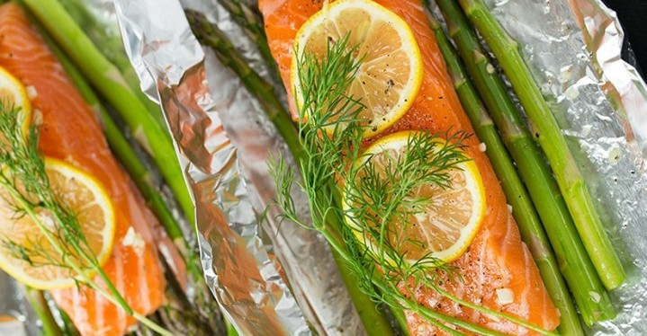 Salmon and Asparagus in Foil - Healthy Dinner Recipes
