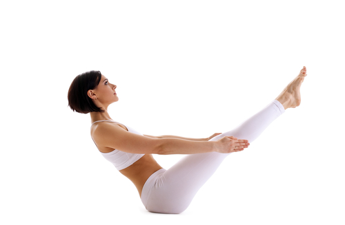 Boat - another one of the great yoga poses for flat abs
