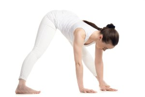 wide legged forward bend yoga pose for flexibility