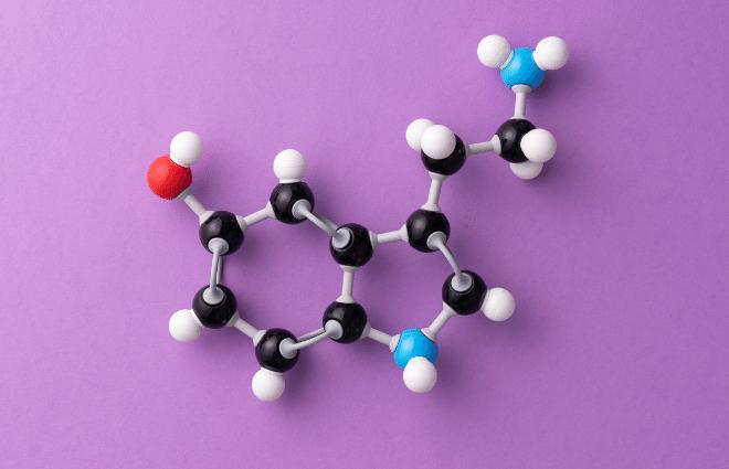 serotonin molecular model on purple background
