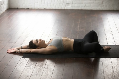 Reclining Bound Angle Pose Yoga Relaxation-min