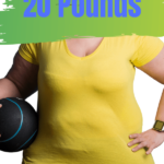 How to Lose 20 lbs Easily Pin 3, Overweight woman in yellow shirt holding a medicine ball