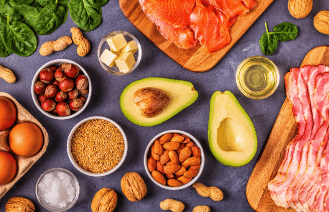 display of foods with healthy fats