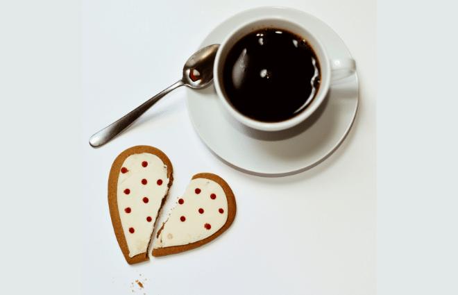 coffee and broken heart cookie