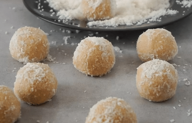 easy keto peanut butter balls on counter