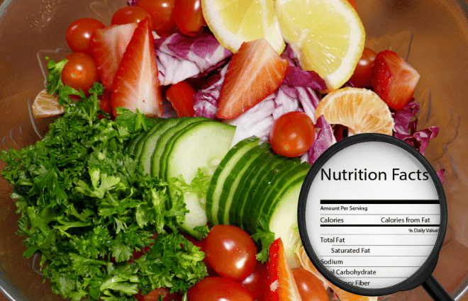 magnifying glass showing nutrition content info for foods, veggies, healthy food