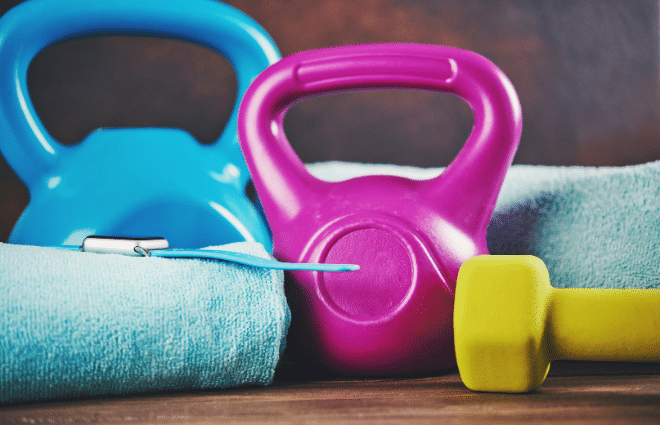 dumbbell, kettlebells, and other workout equipment