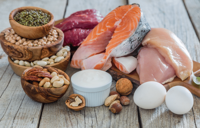 lean protein options, fish, eggs, nuts, legumes, etc