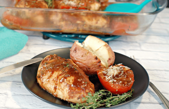 balsamic chicken with roasted tomatoes and a potato