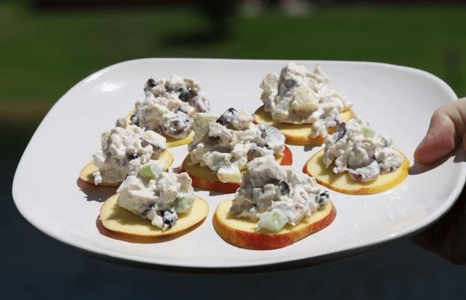 cranberry apple chicken salad bites