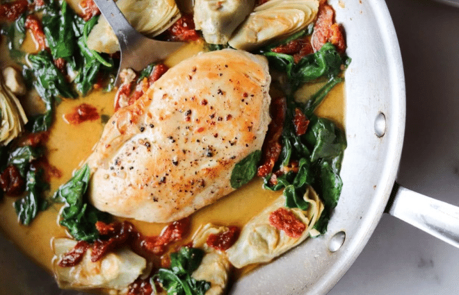 tuscan chicken dinner in pan