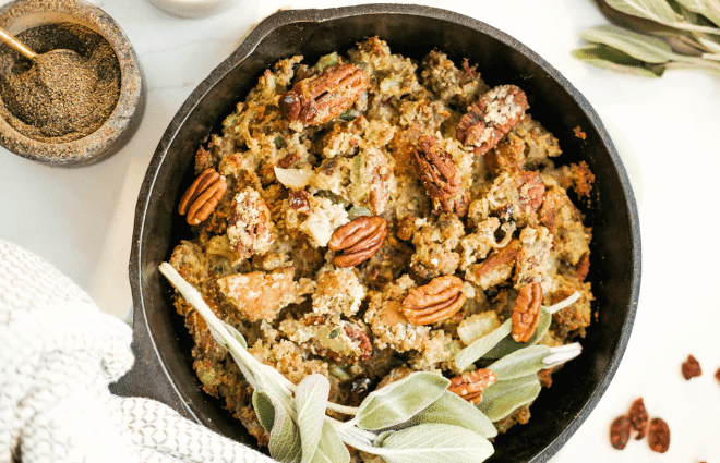 low carb Thanksgiving stuffing in a skillet