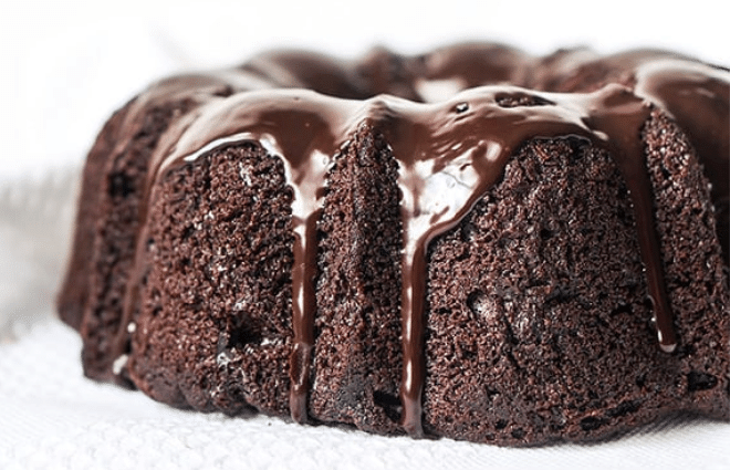 healthy chocolate bundt cake with chocolate icing