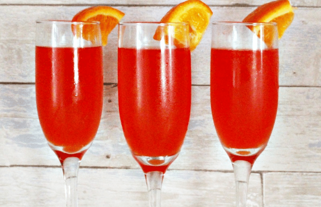 three glasses of low carb mimosas